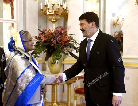 Hungarian President Janos Ader (r) Receives Bangladeshi Prime Minister Sheikh Hasina Wazed in the Presidential Alexander Palace in Budapest Hungary 28 November 2016 Sheikh Hasina Wazed is the First Ever Premier of Bangladesh to Pay an Official Visit to Hungary Hungary Budapest