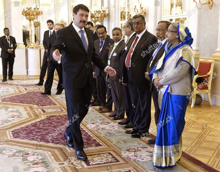 Hungarian President Janos Ader (c) Receives Bangladeshi Prime Minister Sheikh Hasina Wazed (r) and Delegates in the Presidential Alexander Palace in Budapest Hungary 28 November 2016 Sheikh Hasina Wazed is the First Ever Premier of Bangladesh to Pay an Official Visit to Hungary Hungary Budapest