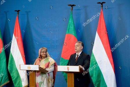 Hungarian Prime Minister Viktor Orban (r) and Bangladeshi Prime Minister Sheikh Hasina Wazed Hold a Joint Press Conference Following Their Meeting in the Delegation Room of the Parliament Building in Budapest Hungary 28 November 2016 Sheikh Hasina Wazed is the First Premier of Bangladesh to Pay an Official Visit to Hungary Hungary Budapest