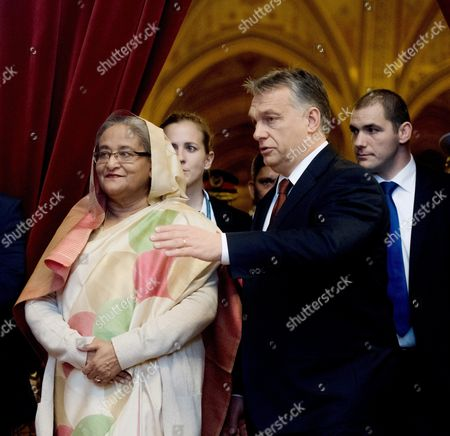 Hungarian Prime Minister Viktor Orban (2-r) Receives Bangladeshi Prime Minister Sheikh Hasina Wazed (l) in the Delegation Room of the Parliament Building in Budapest Hungary 28 November 2016 Sheikh Hasina Wazed is the First Premier of Bangladesh to Pay an Official Visit to Hungary Hungary Budapest