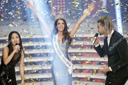 Stock Picture of A Photograph Made Available on 21 November 2016 Showing Veronika Bodizs a 24-year Old Student Reacts Between Hungarian Singers Nguyen Thanh Hien (l) and Andras Kallay Saunders After She Won the Final of the Miss Universe Hungary Beauty Pageant in Budapest Hungary 20 November 2016 Hungary Budapest