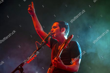 Singer Brian Molko Performs with British Band Placebo in Papp Laszlo Sports Arena in Budapest Hungary 11 November 2016 Hungary Budapest