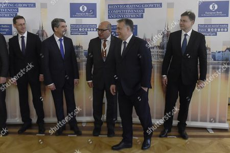 Hungarian Minister of National Economy Mihaly Varga Bulgarian President Rosen Plevneliev European Bank For Reconstruction and Development Ebrd President Suma Chakrabarti Hungarian Prime Minister Viktor Orban and Vice President of the European Commission in Charge of the Euro and Social Dialogue Valdis Dombrovskis (l-r) Depart After Family Photos Were Taken During the European Bank For Reconstruction and Development Ebrd Conference in Budapest Hungary 10 November 2016 Hungary Budapest