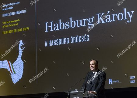 Karl Habsburg-lothringen the Head of the House of Habsburg-lorraine Addresses the International Conference 'The Last Monarch of the Old World' Dedicated to the Memory of Emperor Franz Joseph on the Occasion of the 100th Anniversary of His Death in Budapest Hungary 28 November 2016 Karl Von Habsburg is the Grandson of the Last Austrian Emperor Charles i King Charles Iv of Hungary and the Son of the Last Crown Prince of Austria and Hungary Otto Von Habsburg the Inscription on the Screen Reads: 'The Habsburg Legacy' Hungary Budapest
