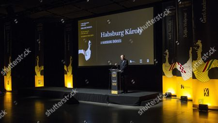 Stock Photo of Karl Habsburg-lothringen the Head of the House of Habsburg-lorraine Addresses the International Conference 'The Last Monarch of the Old World' Dedicated to the Memory of Emperor Franz Joseph on the Occasion of the 100th Anniversary of His Death in Budapest Hungary 28 November 2016 Karl Von Habsburg is the Grandson of the Last Austrian Emperor Charles i King Charles Iv of Hungary and the Son of the Last Crown Prince of Austria and Hungary Otto Von Habsburg the Inscription on the Screen Reads: 'The Habsburg Legacy' Hungary Budapest