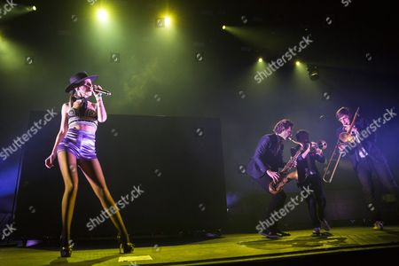 Singer Cleo Panther (l) of the Austrian Parov Stelar Band Performs During the Mvm Winter Magic Charity Concert at the Papp Laszlo Sports Arena in Budapest Hungary 28 November 2016 Hungary Budapest