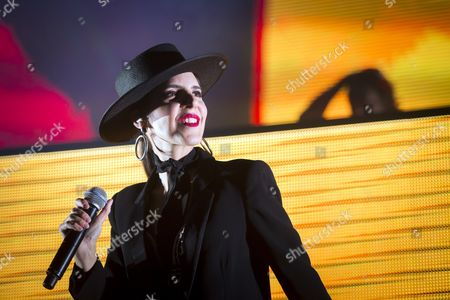 Singer Cleo Panther of the Austrian Parov Stelar Band Performs During the Mvm Winter Magic Charity Concert at the Papp Laszlo Sports Arena in Budapest Hungary 28 November 2016 Hungary Budapest