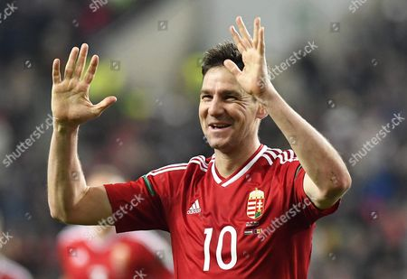 Zoltan Gera of Hungary Celebrates After Scoring the 1-0 Lead During the Fifa World Cup 2018 Qualifying Soccer Match Between Hungary and Andorra at Groupama Arena in Budapest Hungary 13 November 2016 Hungary Budapest