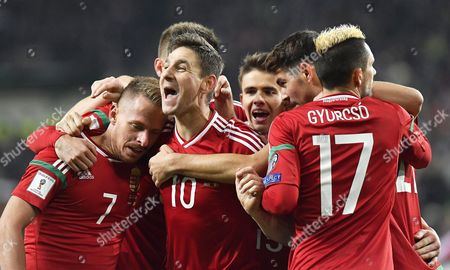 Zoltan Gera (c) of Hungary Celebrates with His Teammates After Scoring the 1-0 Lead During the Fifa World Cup 2018 Qualifying Soccer Match Between Hungary and Andorra at Groupama Arena in Budapest Hungary 13 November 2016 Hungary Budapest