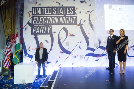Us Ambassador to Hungary Colleen Bell (r) and American Chambers of Commerce Amcham Hungary President Ferenc Pongracz (c) Participate in the Election Night Party at the Us Embassy in Budapest Hungary 08 November 2016 Hungary Budapest