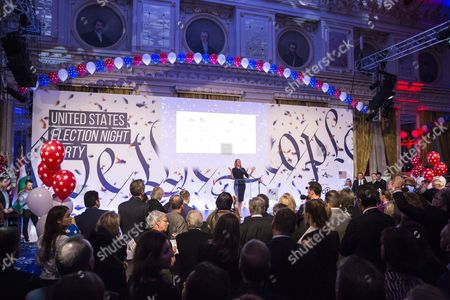 Us Ambassador to Hungary Colleen Bell (c) Delivers Her Address During the Election Night Party Held For the Presidential Poll of the United States at the Us Embassy in Budapest Hungary 08 November 2016 Hungary Budapest