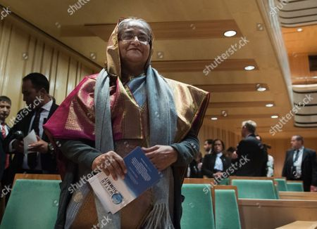 Bangladeshi Prime Minister Sheikh Hasina Wazed Waits For the Beginning of a Gala Performance Held For Participants of the Budapest Water Summit 2016 in Bartok Bela National Concert Hall of Mupa (palace of Arts) in Budapest Hungary 28 November 2016 the Summit Which Runs From 28 to 30 November is Attended by Some 1 800 Participants Including Heads of States and Governments Ministers High-level Representatives of International Organisations and Members of the Scientific Business and Financial Sectors As Well As 600 Sustainable Water Solutions Expo Visitors From 117 Countries Bws 2016 Serves As a Platform For the Discussion of the Key Issues Regarding Potable Water Sanitation and Sustainable Water Management Hungary Budapest