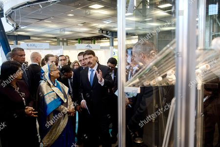 Hungarian President Janos Ader (c) Bangladeshi Prime Minister Sheikh Hasina Wazed (3-l) and Mauritian President Ameenah Gurib-fakim (l) View the Stalls During the Budapest Water Summit 2016 in Millenaris Cultural and Convention Centre in Budapest Hungary 28 November 2016 the Conference Which Runs From 28 to 30 November is Attended by Some 1800 Participants and 600 Sustainable Water Solutions Expo Visitors From 117 Countries Bws 2016 Serves As a Platform For the Discussion of the Key Issues Regarding Potable Water Sanitation and Sustainable Water Management Hungary Budapest