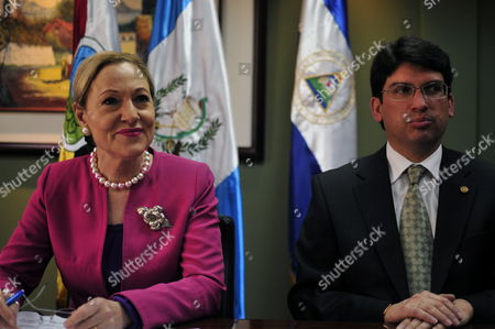 European Commissioner For Trade Benita Ferrero-waldner (l) and Guatemalan Minister of Finance Ruben Morales (r) During a Press Conference in Guatemala City Guatemala 18 January 2010 Ferrero-waldner Said European Union and Guatemala Including Honduras Will Sign an Association Trade on 18 May 2010 in Madrid Spain Guatemala Guatemala City