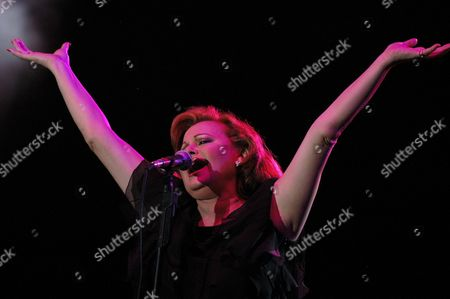 Spanish Singer Rocio Durcal (r) Performs During a Concert at the Americas Hippodrome Tuesday 11 May 2004 in Mexico City in the Concert Participated Cuban Singer and Composer Francisco Cespedes and Mexican Singer Manuel Mijares About 2 000 People Attended to the Event Mexico Mexico