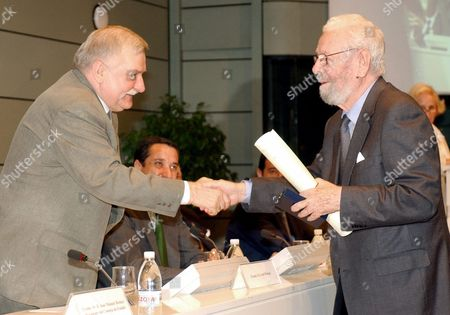 Former Polish President (1990-1995) and Nobel Peace Laureate (1983) Lech Walesa (l) Presents a Work Award to Spanish Film Director Luis Garcia Berlanga who Directed a Famous Post Civil War Film in Spain 'Welcome Mr Marshall' an Ironic Reflexion on Spain Being Left out of the Marshall Plan After World War Ii Walesa who Formed and Presided Over the First Independent Polish Trade Union 'Solidarity' is Visiting Spain Invited by the Civil Servants Trade Union to the Celebration of Their 25th Anniversary Efe/fernando Alvarado Spain Madrid