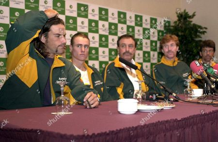 B10 - 20001205 - Barcelona Spain : From Left - Australian Players Patrik Rafter Lleyton Hewitt Davis Cup Team Coach John Newcombe and Players Mark Woodforde and Sandon Stolle Answer Journalists' Questions During a Press Conference in Barcelona on Tuesday 05 December 2000 Ahead of the Davis Cup Final Between Spain and Australia Starting on Friday 08 December Epa Photo Efe/lluis Gene Spain Barcelona