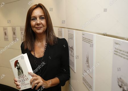 Spanish Writer Maria Duenas Poses with the Edition in Portuguese of Her New Book 'Temperance' During the Launching in Rio De Janeiro Brazil 16 September 2015 Brazil Rio De Janeiro