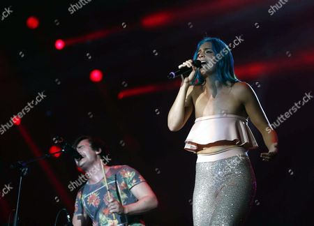 George Sheppard (l) and Amy Sheppard (r) of Australian Indie Pop Band Sheppard Perform During the Rock in Rio in Rio De Janeiro Brazil 26 September 2015 Brazil Rio De Janeiro