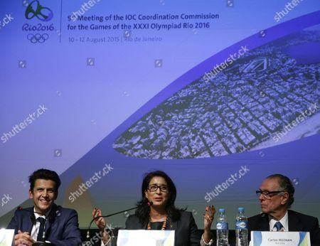 International Olympic Committee (ioc) Executive Director For Rio 2016 Olympic Games Christophe Dubi (l) President of the Ioc Coordination Committee of Rio 2016 Olympic Games Moroccan Former Athlete Nawal El Moutawakel (c) and President of Brazilian Olympic Committee (cob) Carlos Nuzman Attend a Press Conference at the Coordination Committee Headquarters in Rio De Janeiro Brazil 12 August 2015 Brazil Rio De Janeiro
