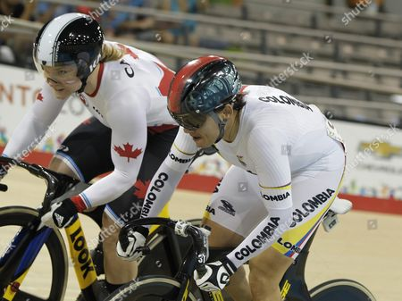 Kate O'brien (l) From Canada and Diana Garcia (r) From Colombia Compete in the Women?s Track Cycling Sprint During the Pan American Games 2015 in Toronto Canada 18 July 2015 Canada Toronto