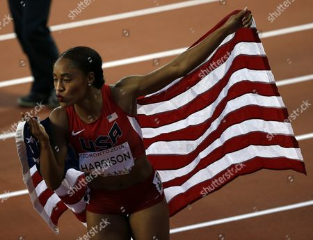 Queen Harrison From the United States Celebrates Her Win in the Athletics 100 M During the Pan American Games 2015 in Toronto Canada 21 July 2015 Canada Toronto