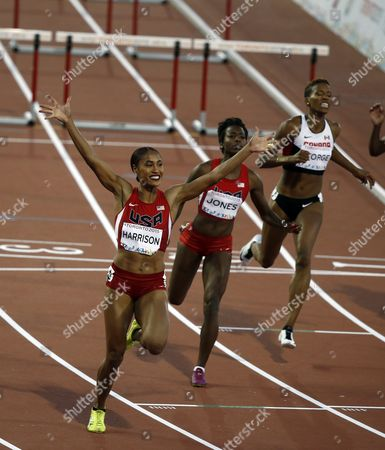 (l-r) Queen Harrison From the United States Akela Jones From Barbados and Phylicia George From Canada Cross the Finish Line in the Athletics 100 M During the Pan American Games 2015 in Toronto Canada 21 July 2015 Canada Toronto