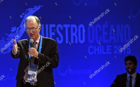 Stock Photo of Andrew Sharpless Ceo of the Conservation Organization 'Oceana' Speaks During the Conference 'Our Ocean' (nuestro Oceano) Chile 2015 in Valaparaiso Chile 06 October 2015 According to the Organizers of the Conference More Than 400 Leaders From Government Academia and Civil Society who Are Committed to Protecting the Ocean Are Expected to Participate the Event From 05 to 06 October Chile Valparaiso