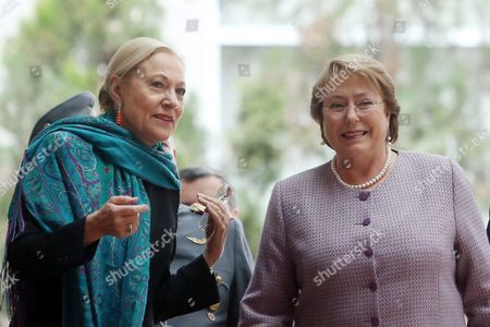 Stock Picture of The President of the Euroamerica Foundation Benita Ferrero-waldner (l) Poses Next to Chilean President Michelle Bachelet During the Closing Day of the Third Chile-eu Forum in Santiago Chile on 22 July 2015 the Forum Focused on Issues As the Eu-chile Association Agreement Comercial Relations and Investment Among Both Regions Chile Santiago De Chile
