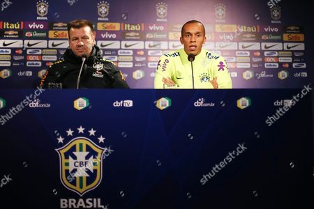 Brazilian National Soccer Team Head Coach Carlos Dunga (l) and Player Joao Miranda (r) Attend a Press Conference at San Carlos De Apoquindi Stadium in Santiago Chile 07 October 2015 Brazil Will Face Chile in the Fifa World Cup 2018 Qualifying Soccer Match on 08 October 2015 Chile Santiago