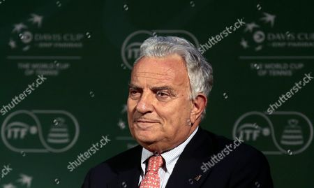 Stock Photo of President of the International Tennis Federation (itf) Francesco Ricci Bitti Participates in the Davis Cup 2016 Draw Event in Santiago De Chile Chile 23 September 2015 the World Group Draw and Also the Tables Draw Corresponding to the American Zone Group i Asia / Oceania Group i and Ii and Africa / Europe Group i was Held During the Event Chile Santiago De Chile