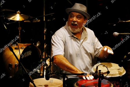 Stock Image of A Picture Made Available on 26 September 2015 Shows Us Musician Poncho Sanchez Performing with His Latin Jazz Band at the 15th Edition of Ajazzgo Festival in Cali Colombia 25 September 2015 the Festival Runs Until 27 September Colombia Cali