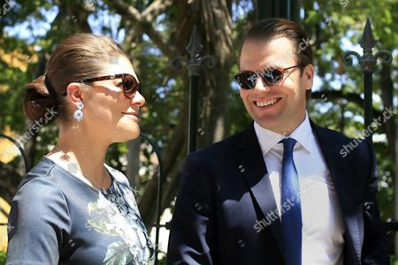 Princess Victoria of Sweden (l) and Prince Daniel Westling (r) Smile During Their Visit to Cartagena De Indias Colombia 21 October 2015 the Royal Couple Will Return to Sweden on 23 October Colombia Cartagena