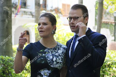 Princess Victoria of Sweden (l) and Prince Daniel Westling (r) Gesture During Their Visit to Cartagena De Indias Colombia 21 October 2015 the Royal Couple Will Return to Sweden on 23 October Colombia Cartagena