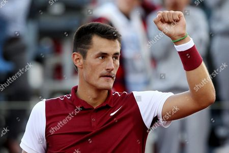 Australian Bernard Tomic Celebratres As He Defeats Germany Michael Berrer During Their Atp 250 Claro Open 2015 Game in Bogota Colombia 25 July 2015 Colombia Bogota