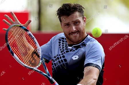 Germany Michael Berrer in Action Against Australian Bernard Tomic During Their Atp 250 Claro Open 2015 Game in Bogota Colombia 25 July 2015 Colombia Bogota
