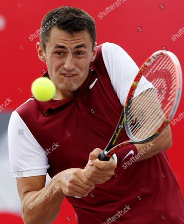 Australian Bernard Tomic in Action Against Germany Michael Berrer During Their Atp 250 Claro Open 2015 Game in Bogota Colombia 25 July 2015 Colombia Bogota