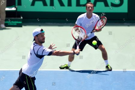 German Philipp Petzschner and Philip Kohlschreiber in Action Against Dominican Pair Victor Estrella and Jose Hernandez During the Doubles Tennis Match Between Dominican Republic and Germany in the Davis Cup Match in Santo Domingo Dominican Republic 18 September 2015 Dominican Republic Santo Domingo