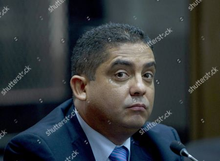 Juan Carlos Monzon Former Personal Secretary of Former Guatemalan Vice President Roxana Baldetti Looks on During a Hearing Before a Judge in Guatemala City Guatemala 05 October 2015 Monzon Allegeldy the Head of the Corruption Network Known As 'The Line' (la Linea) Turned Himself in to Authorities According to Reports Quoting a Spokeswoman For the Court He is Facing Charges of Conspiracy Customs Fraud and Bribery Guatemala Guatemala City