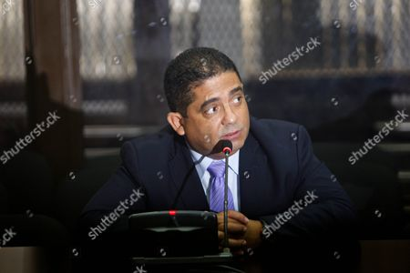 Juan Carlos Monzon Former Private Secretary of Guatemalan Former Vice President Roxana Baldetti During a Hearing Before a Judge in Guatemala City Guatemala 05 October 2015 Monzon Allegeldy Head of the State Network Corruption Known As 'The Line' Turned Himself in to Authorities Guatemala Guatemala City