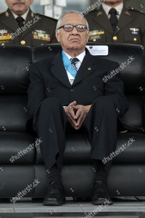 Guatemala's New President Alejandro Maldonado Looks Over the Troops As He Assumes Commanding General of Guatemala's Army in the Ministry of Defense in Guatemala City Guatemala 04 September 2015 Guatemala Guatemala City