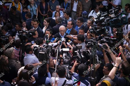 President of Guatemla Alejandro Maldonado Talks to the Press After Casting His Vote During the General Elections in Guatemala City Guatemala 06 September 2015 More Than 7 5 Million Guatemalans Are Eligible to Elect Their New President and Congressmen For the Next Four Years Amid a Climate of Corruption and Skepticism Guatemala Guatemala City
