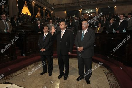 Juan Alfonso Fuentes Soria (c) is Sworn in As New Guatemalan Vice President During a Ceremony at the Congress Headquarters in Guatemala City Guatemala 16 September 2015 Fuentes Soria was Elected by Guatemala's Congress Amid a Political Scandal in a Corruption Case That Forced Former President Otto Perez Molina and His Deputy to Resign Fuentes Soria Replaced Alejandro Maldonado Aguirre who was Briefly Appointed by the Congress As Vice-president Before He Assumed the Presidency Following Perez Molina's Resignations Guatemala Guatemala City