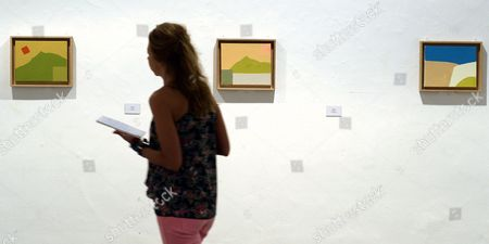 A Visitor Looks at Three Paintings by Lebanese Artist Ethel Adnanque During the Inauguration of the Exhibition 'Galerie Lelong' at the Musseum Pasion in Valladolid Spain 16 July 2015 the Display Features a Collection on Loan by the Galerie Lelong with Artworks by Artists Like Tapies Etel Adnan Pierre Alechinsky G?nther F÷rg Rebecca Horn Jannis Kounellis and Nalini Malani Between Others the Exhibition Runs From 16 July to 30 August 2015 Spain Valladolid