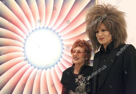 Us Feminist Artist Judy Chicago (2-r) Poses in Front of One of Her Artworks Next to the Organizer Xabier Arakistain During the Presentation of the Exhibition 'Why not Judy Chicago' at the Azkuna Zentroa Arts Center in Bilbao in the Region of the Basque Country Northern Spain 07 October 2015 the Event Runs From 08 October 2015 to 10 January 2016 Spain Bilbao