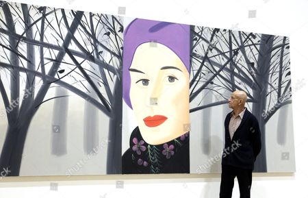 Us Artist Alex Katz Looks at His Work 'January 3' on Display in His Exhibition 'Alex Katz Here and Now' at the Guggenheim Museum in Bilbao Spain 22 October 2015 the Exhibition Opens to Public From 23 October 2015 to 07 February 2016 Spain Bilbao