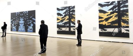 People Visit the Exhibition 'Alex Katz Here and Now' at the Guggenheim Museum in Bilbao Spain 22 October 2015 the Exhibition Presenting Works by Us Artist Alex Katz Opens to Public From 23 October 2015 to 07 February 2016 Spain Bilbao