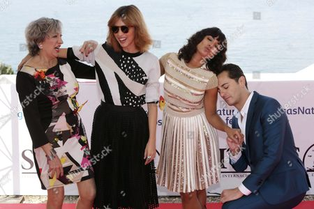 (from L-r) Spanish Actors Luisa Gavasa Letizia Dolera Inma Cuesta and Asier Etxeandia Pose For Photographers During the Presentation of Their Film 'La Novia' (the Bride) at the 48th Sitges International Fantastic Film Festival in Sitges Near Barcelona Spain 10 October 2015 the Festival Runs From 09 to 18 October Spain Sitges (barcelona)