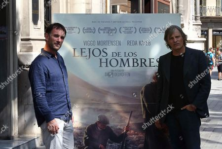Danish-us Actor Viggo Mortensen and French Director David Oelhoffen (l) Pose During the Presentation of 'Far From Men' (loin Des Hommes) in Madrid Spain 28 September 2015 the Movie Will Be Released in Spanish Theaters on 02 October Spain Barcelona