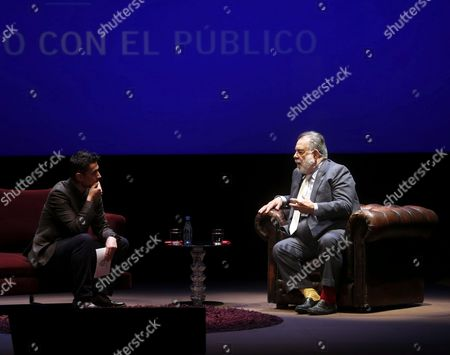 Spanish Film Maker Rodrigo Cortes Chats During a Debate with Us Film Director Francis Ford Coppola (r) Laureate of the Princess of Asturias Award For Arts 2015 at Jovellanos Theatre in Oviedo Spain 22 October 2015 the Princess of Asturias Award Ceremony Will Be Held at the Campoamor Theater in Oviedo on 23 October Spain Oviedo